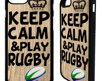 keep calm & play rugby ball sports phrase quote phone case cover for iphone 4 5 5s 6 6s 7 8 8 plus X