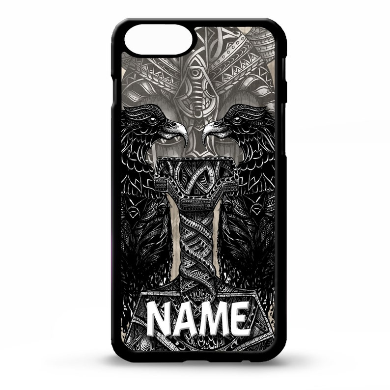 Viking Thors hammer thor thunder god odin personalised name cover for  Samsung Galaxy S5 S6 s7 s8 plus edge note 4 5 phone case