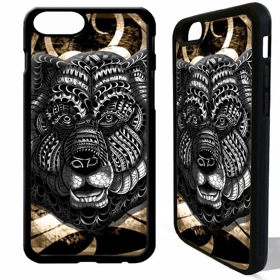 Ours grizzly tête motif tribal africain vintage art graphique en caoutchouc gel silicone téléphone Housse étui pour iphone 4 5 5 s, 6 s 6 7 8 8 plus X