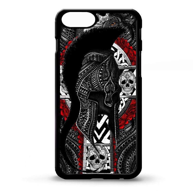 Spartan helmet greek warrior god skull tattoo cross graphic art cover for  Samsung Galaxy s7 s8 s9 s10 s10e plus edge phone case