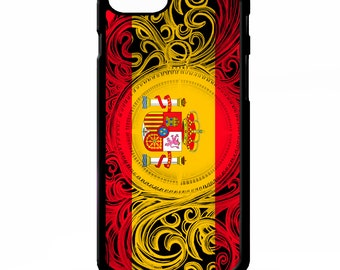 Spanish flag of spain royal swirl pattern vintage graphic cover for iphone 4 4s 5 5s 5c SE 6 6s 7 8 plus X phone case