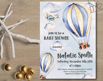Boy Baby Shower Invitation Hot air balloon Baby Shower Invitation, Printable Baby Shower Invitation, Adventure baby shower invitation