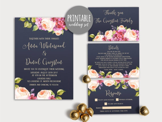 Navy Floral Wedding Invitation Set Printable Pink Green Etsy