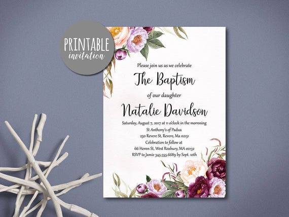 floral baptism invitation girl baptism invitation printable etsy