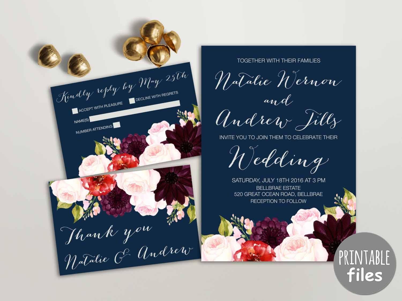 Floral Wedding Invitation Suite Printable Wedding Invitation