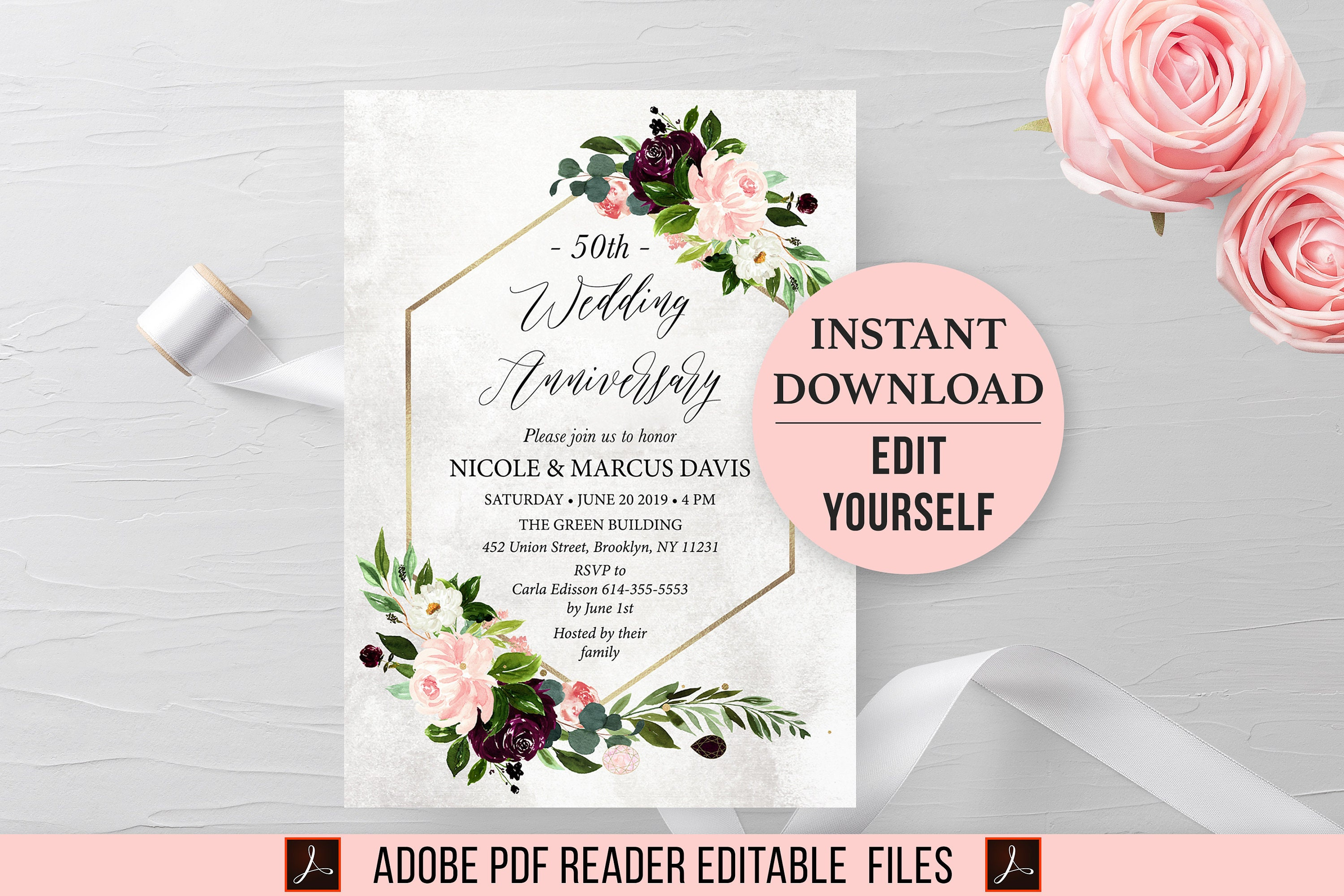 Anniversary Invitation Template Floral Wedding Party Download Green Gold Pink Burgundy 25th 30th 50th Invite