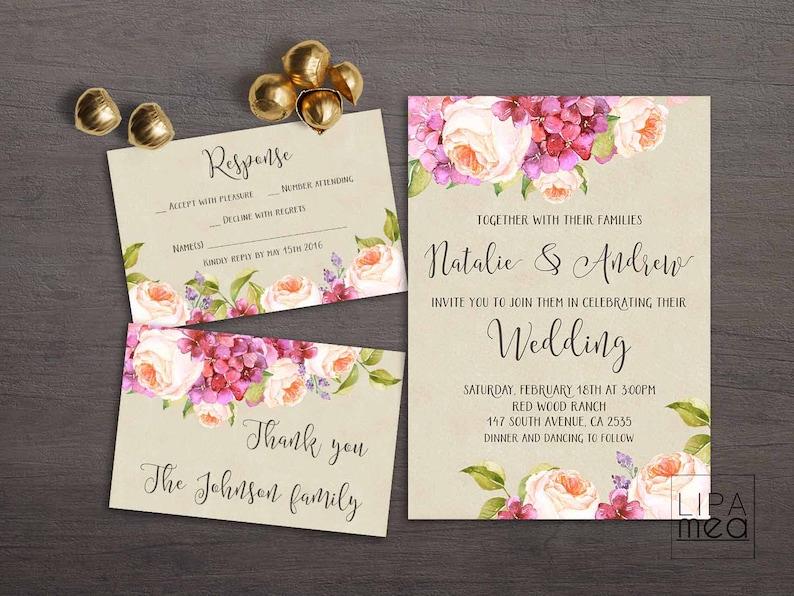 Invito Matrimonio Rustico : Inviti matrimonio rustico floreale matrimonio invito etsy