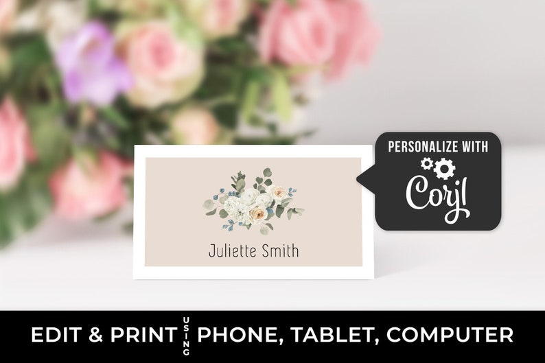 Editable place card template Wedding name cards green white blush pink floral food label card printable baby shower decor bridal shower