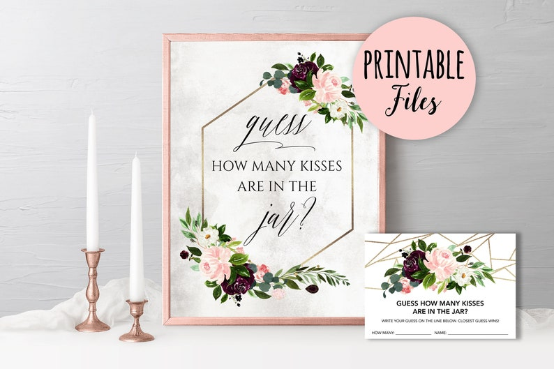 graphic relating to Printable Tip Jar Signs named Day Jar card and signal, Day jar Options printable Bridal shower activity Day Thought, Day Evening Jar Recreation, geometric floral bridal shower activity