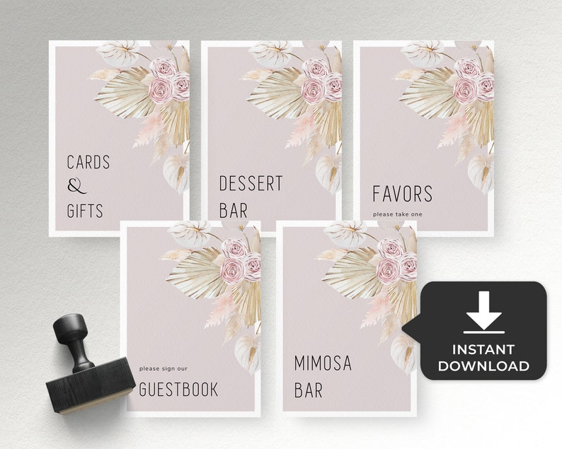 bridal shower Pampas grass place card template Wedding name cards editable blush pink floral food label card printable baby shower decor