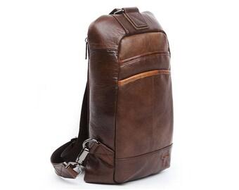Mens Genuine Leather Sling Bag Crossbody Bag Shoulder Backpack 9158