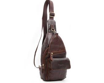 Mens Genuine Leather Sling Bag Crossbody Bag Shoulder Backpack 38035
