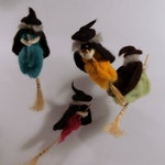The cutest witch mobile, Needle felting OOAK, Halloween witch art mobile