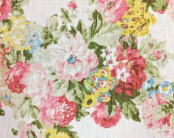 Floral Upholstery Fabric Pink Green Yellow Drapery Maize Home Decor Shabby Chic Peony By The Yard