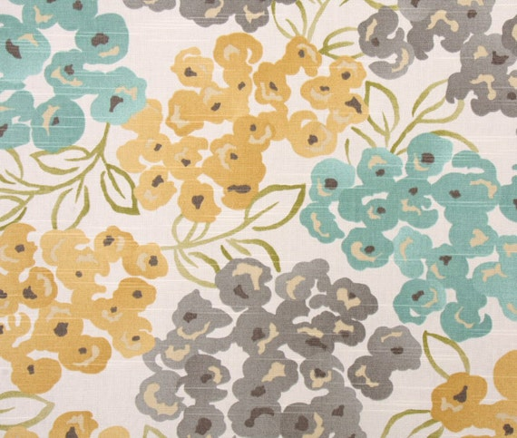Turquoise Grey Floral Upholstery Fabric, Luxury Pool Fabric, Bamboo ...