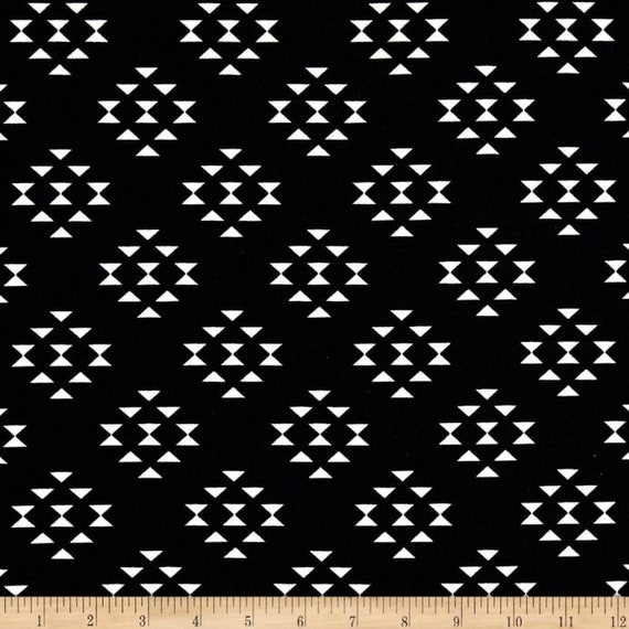 Black Aztec Print Indoor Outdoor Fabric Black And White Patio Etsy