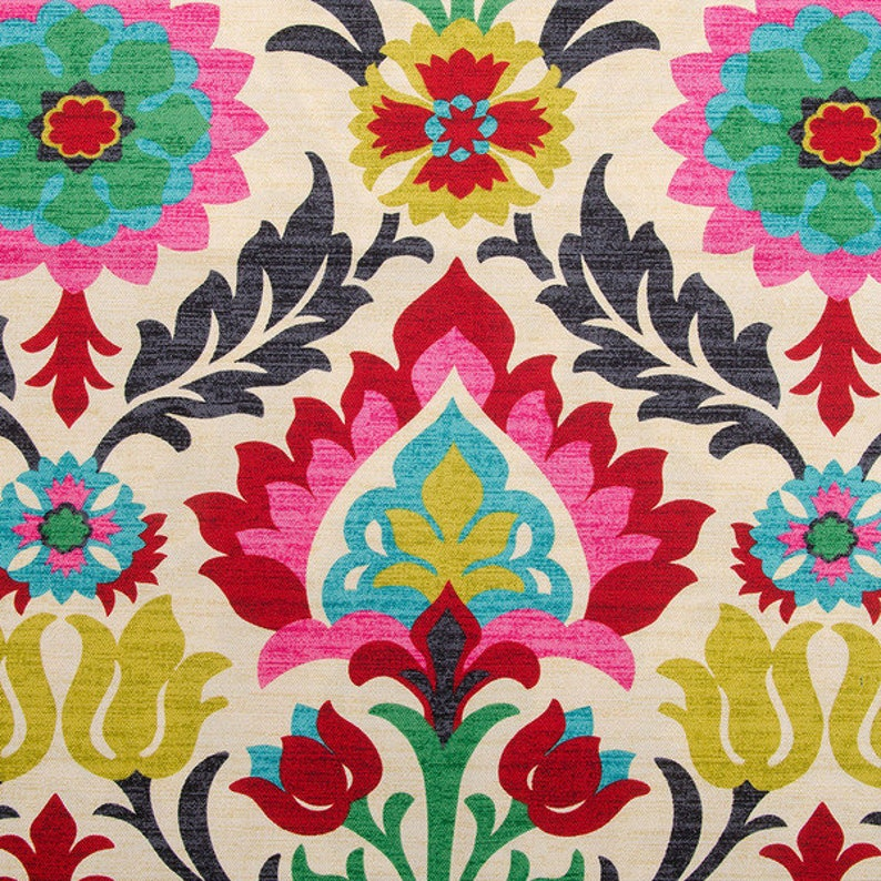 SHIPS SAME DAY Pink Floral Upholstery Fabric by the Yard  image 0