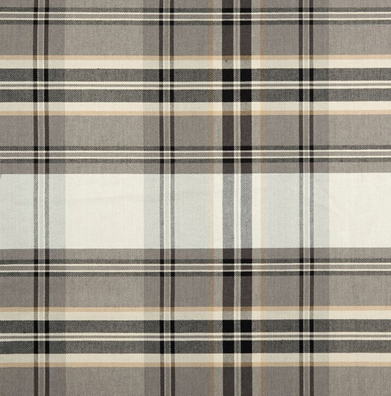 Admirable Modern Plaid Fabric Kendal Plaid Peppercorn Home Decor Fabric Black Grey Large Scale Plaid Upholstery Fabric For Furniture By The Yard Interior Design Ideas Inamawefileorg