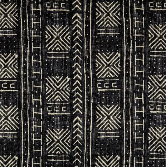 Genevieve Gorder Mali Mud Cloth Linen Inked Home Decor Black Etsy