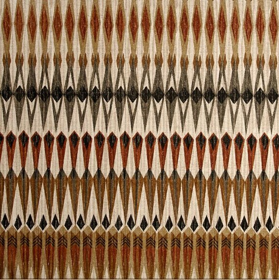 Black Brown Tribal Print Fabric Brown And Gray Upholstery Etsy