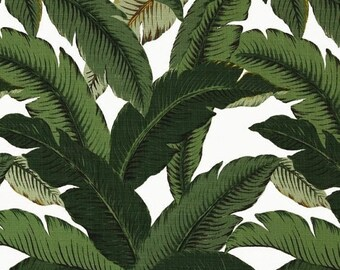 SHIPS SAME DAY Tommy Bahama Swaying Palm Aloe Outdoor Fabric, Banana Leaves Fabric, Dark Green Outdoor Leaves Fabric - By the yard