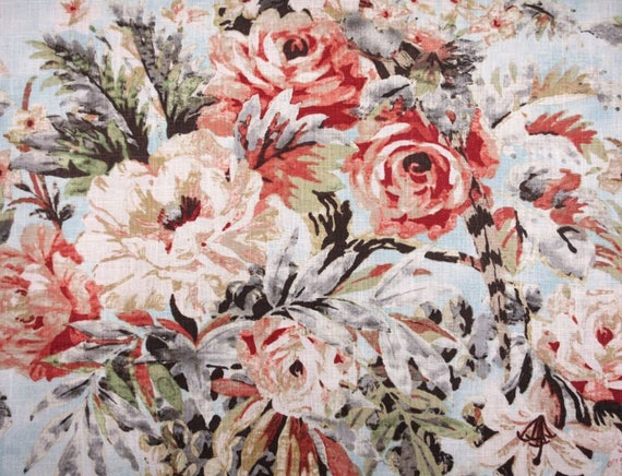 Rose And Green Floral Upholstery Fabric Floral Linen Curtains Etsy
