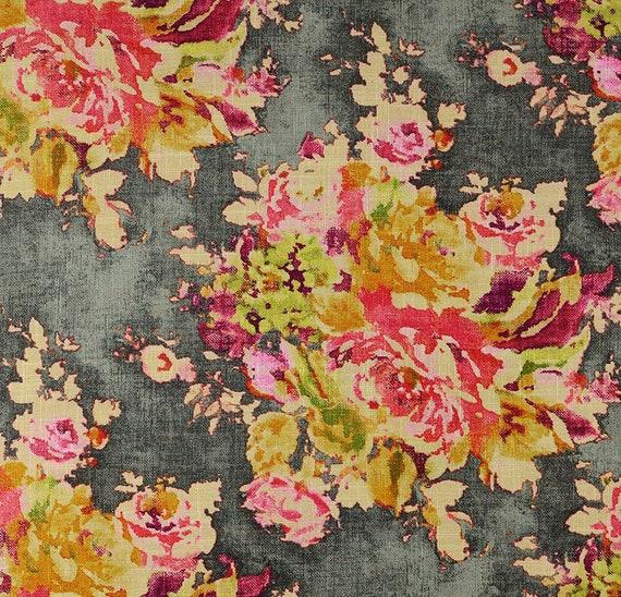Covington Venus Charcoal Home Decor Fabric Charcoal Gray Pink Etsy