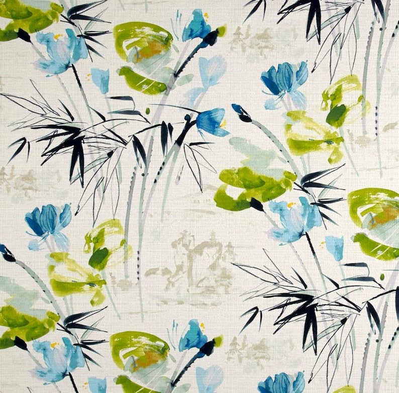 Turquoise Lime Modern Floral Curtain Fabric Large Scale Floral Print Fabric Aqua Lime Blue Upholstery Fabric Headboard Fabric Yardage