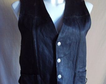 8fb5637ce Black leather vest with side laces and press studs by Duclair size XS bust  36