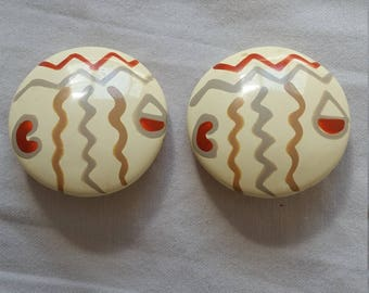 Retro eighties nineties geometric aztec zig zag clip on earrings
