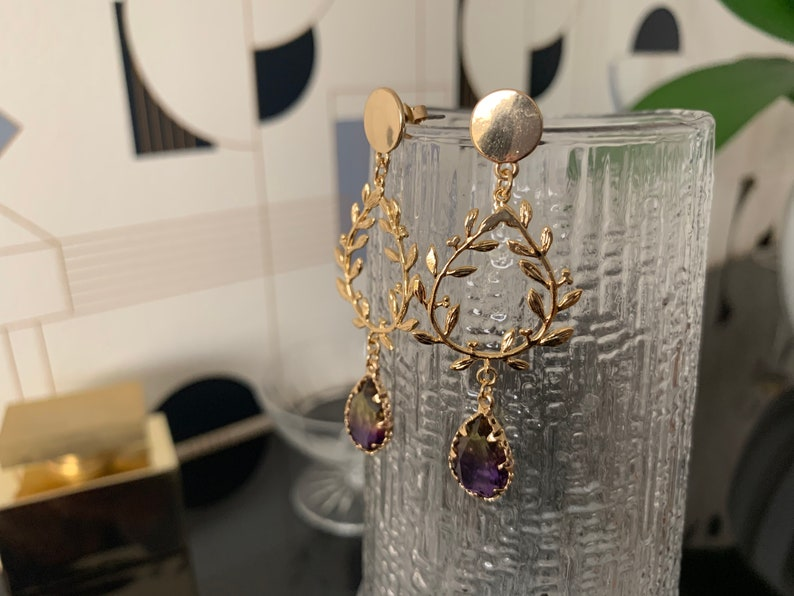 laurel wreath and yellow boho crystal Golden earrings with fine gold