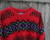 Red Southwestern Aztec Print Sweater