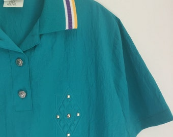 Teal Striped Collar Shirt