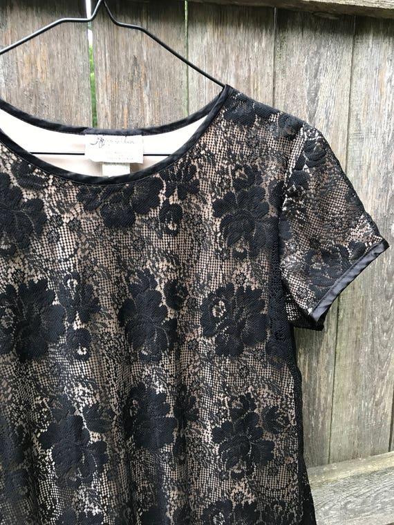 Black Lace Shift Smock Dress