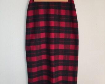 Red Plaid Wool Midi/Maxi Skirt