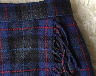 Plaid Wool Maxi Skirt With Fringe