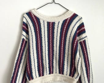 Striped Cropped 90's Sweater