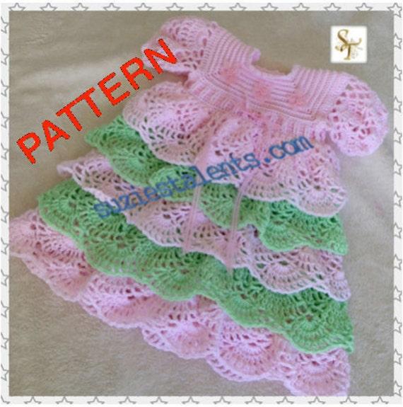 Sale Pattern Pt080 Baby Ruffle Dress Crochet Baby Layers Etsy
