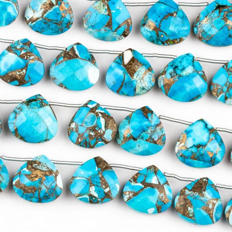 "Charming 7x12mm Turquoise Drop Gem Teardrop Bead 15/"""