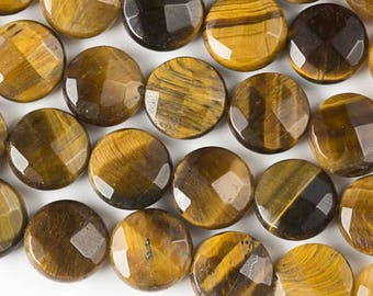 Tigers Eye Yellow Faceted Slab Coin Gemstone Bead - Center Drilled - Bead Size 10mm - Natural - Grade AA - 02 Pieces per Order