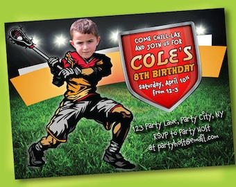 Lacrosse Invitation - Lacrosse Party - Lacrosse Birthday - Sports Birthday - Printable Party - Lacrosse