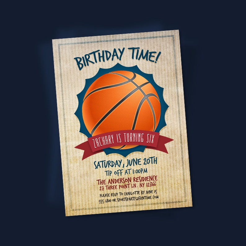 Basketball Invitation Printable Sports Birthday Invites