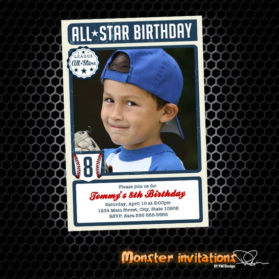 Baseball Card Inspired Printable Birthday Invitation
