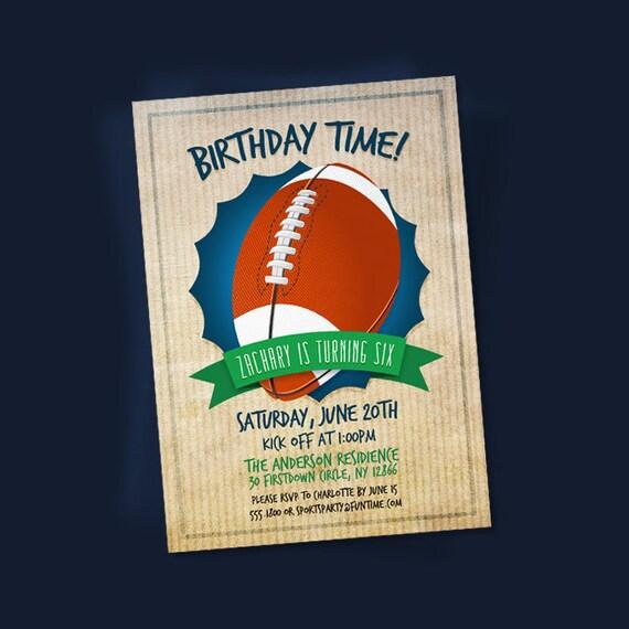 Football Invitation Printable Sports Birthday Invites
