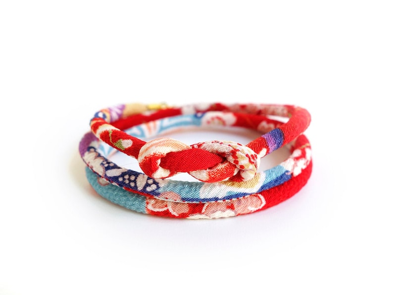 Japanese Sakura Necklace pink red Red and Light BlueJapanese Bracelet HANA MORI Kimono Bracelet 5mm