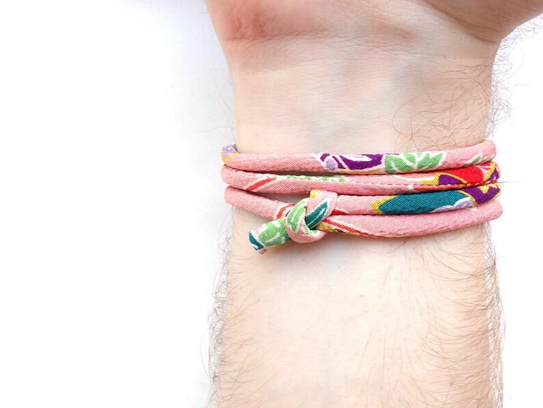 YAMATO Japanese wrap bangle for men women unisex Japanese Kimono bracelet sliding knot cord  Glamour pink purple green blue