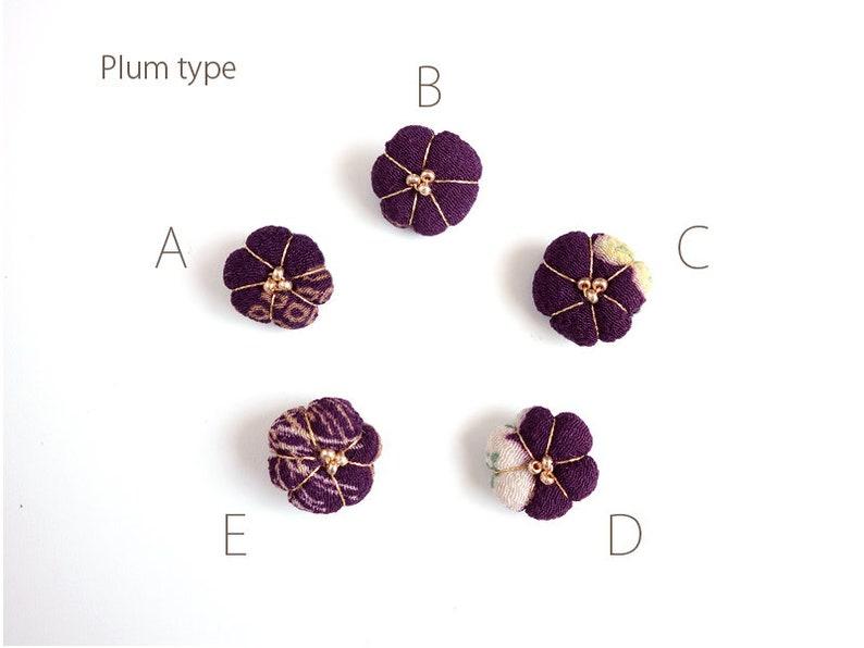 plum blossom accessory Silky Ume charm  dark Purple gold color thread plm Silk Kimono Charm Japanese Jewelry Charm for Kimono Bracelets