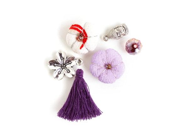 Japanese Chirimen decor gift gold silver bead thread plm pv07 Pink Purple Chirmen Charm for Japanese jewelry