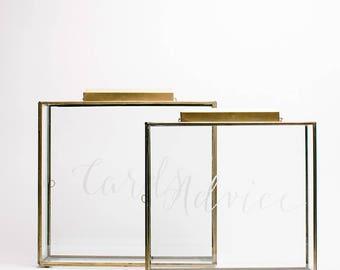 Wedding Card Box (Gold), Wedding Keepsake Glass Box, Cards Box, Wedding Gift Box