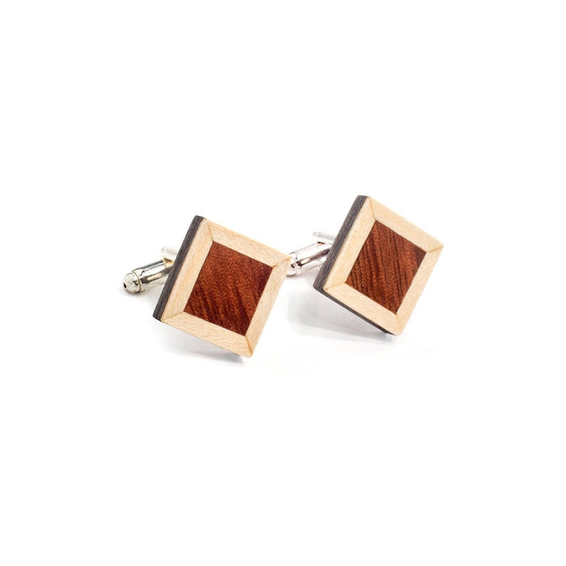 Tweed 2  Gifts for Him Wooden Accessories Men Jewelry Wooden Cuff links